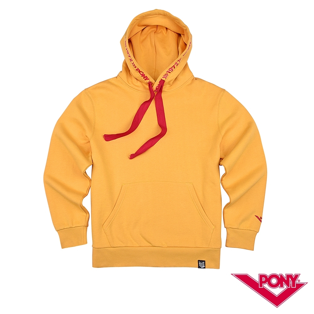 【PONY】長袖素色大學帽T  情侶款  T恤 中性款黃色