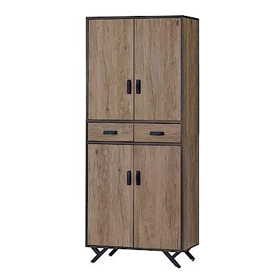 綠活居 尼維亞現代2.7尺四門二抽高鞋櫃/玄關櫃-80x40x192cm-免組
