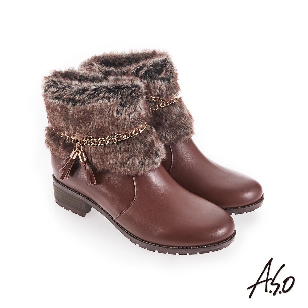 A.S.O 垂墜流蘇 牛皮拼接毛料短靴 咖啡