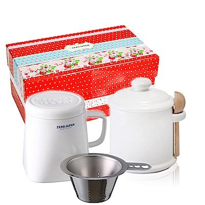 ZERO JAPAN 陶瓷儲物罐+泡茶馬克杯超值禮盒組(白色)