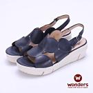WONDERS -FLY 系列 圓型拼接簍空楔型涼鞋-藍色