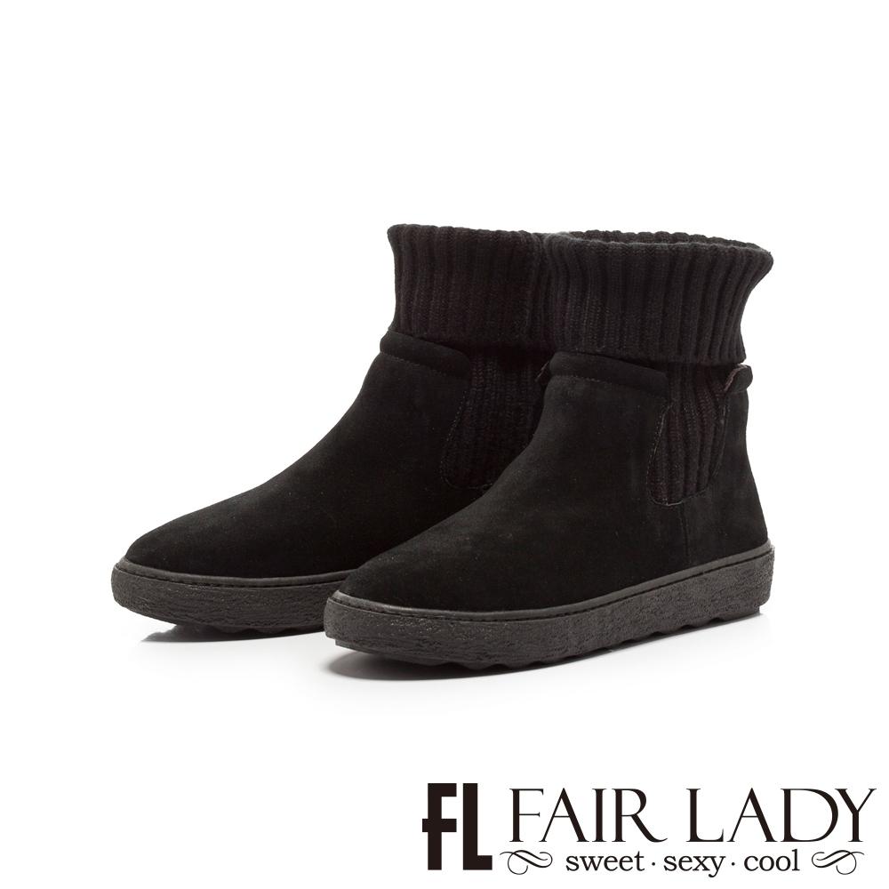 【FAIR LADY】針織襪套拼接厚底中筒靴 黑