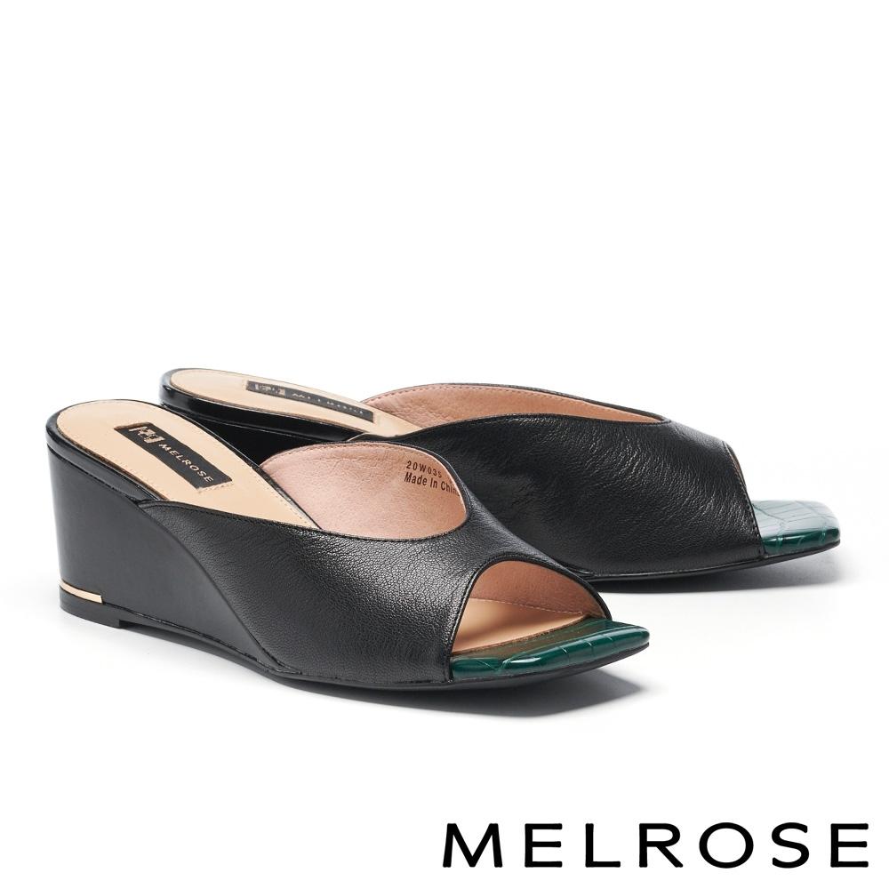 拖鞋 MELROSE 簡約率性撞色羊皮方頭楔型拖鞋-黑
