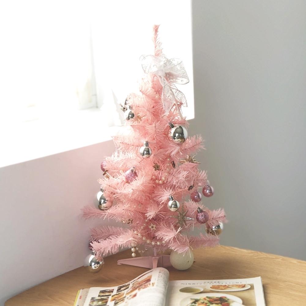 完美主義 粉紅迷你聖誕樹/桌上型/交換禮物/耶誕裝飾品