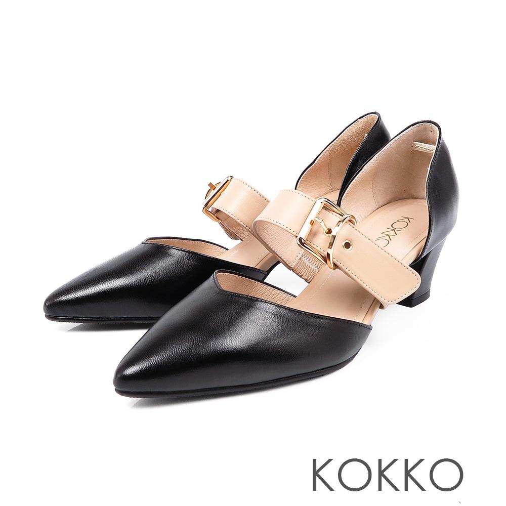 KOKKO艾菲爾鐵塔手工飾帶撞色粗跟鞋經典黑
