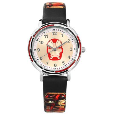 Disney 迪士尼漫威系列鋼鐵人數字時標日本機芯兒童卡通皮革手錶 米白x黑 32mm