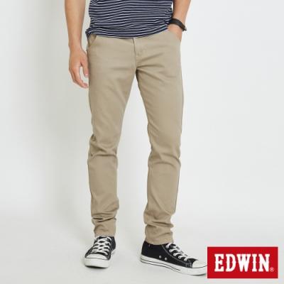 EDWIN 斜袋休閒COOL涼感 窄管牛仔褲-男-淺卡其