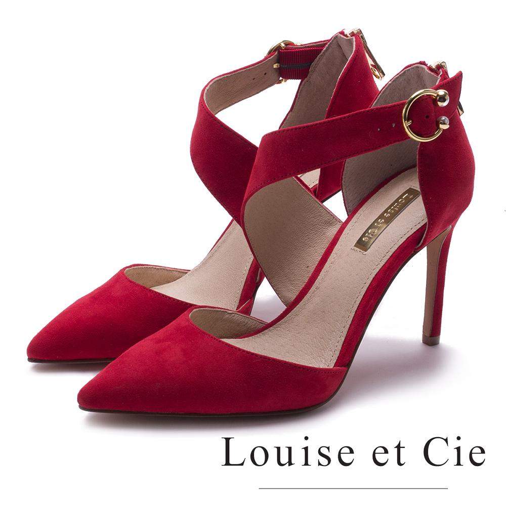 Louise et Cie 單帶繞踝金屬扣尖頭高跟鞋-絨紅