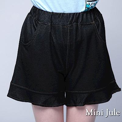 Mini Jule 童裝-短褲 木耳邊純色彈性短褲(黑)