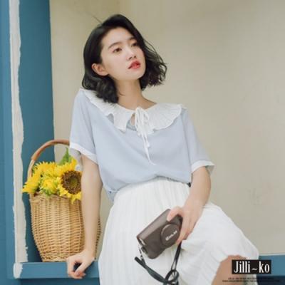 JILLI-KO 純色荷葉翻領衫- 粉紅/淺藍
