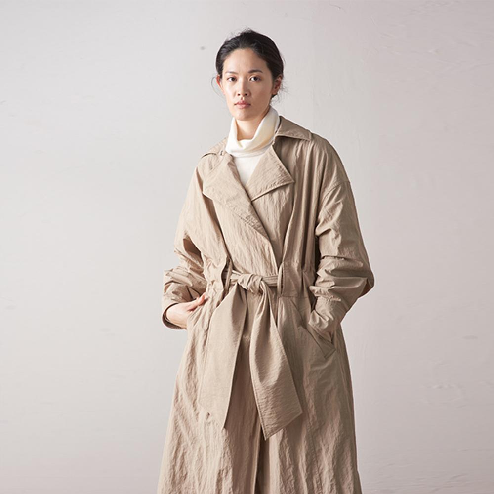 旅途原品_光景_原創設計中長款風衣棉服-卡其色