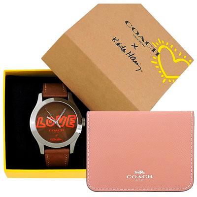 COACH Keith Haring焦糖色真皮時尚腕錶+COACH 粉紅色防刮皮革證件名片