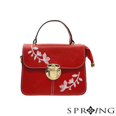 SPRING-獨特的花花刺繡手提包-寶石紅