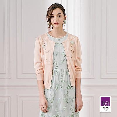 ILEY伊蕾 珠飾刺繡針織外套(粉)