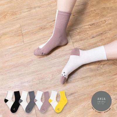 阿華有事嗎  韓國襪子 潮流ABP雙色個性中筒襪  韓妞必備 正韓百搭純棉襪