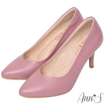 Ann'S舒適療癒系-V型美腿棉羊皮尖頭跟鞋-粉紫