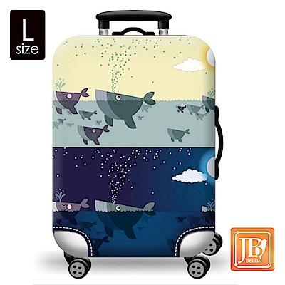 繽紛行李箱套-藍色鯨魚L
