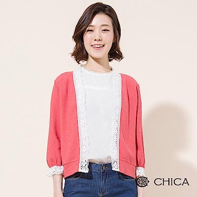 CHICA 甜美荷莉拼接蕾絲七分袖罩衫(2色)