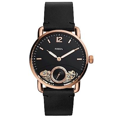 FOSSILCommuter經典復刻真皮機械錶(ME1168)-黑X玫瑰金框/42mm