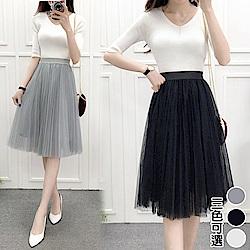 【韓國K.W.】輕熟舒心大擺紗裙-3色