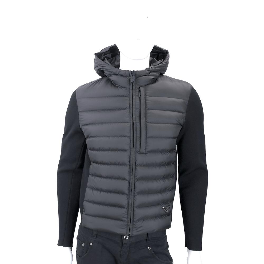 PRADA 三角牌羊毛針織袖黑色連帽羽絨外套(男款)