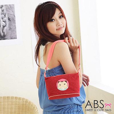 ABS貝斯貓 可愛餅乾貓咪拼布側背 肩背包(可愛紅)88-119