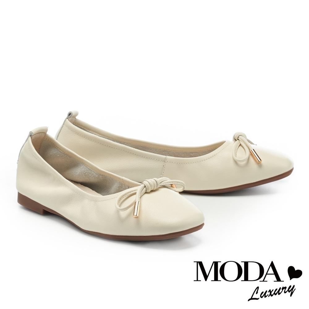 低跟鞋 MODA Luxury 日常純色蝴蝶結全真皮方頭娃娃低跟鞋-白