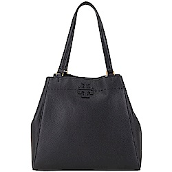 TORY BURCH McGraw Carryall 雙T縫線設計荔紋牛皮托特包(黑色)