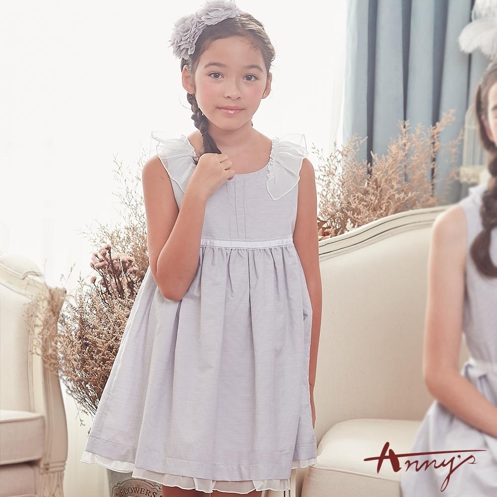 Annys安妮公主-小荷花協奏曲-細條紋三線立體褶荷葉邊背心洋裝*8131灰