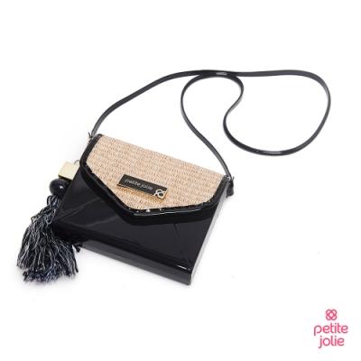 Petite Jolie--草編風飾流蘇果凍信封包-黑色