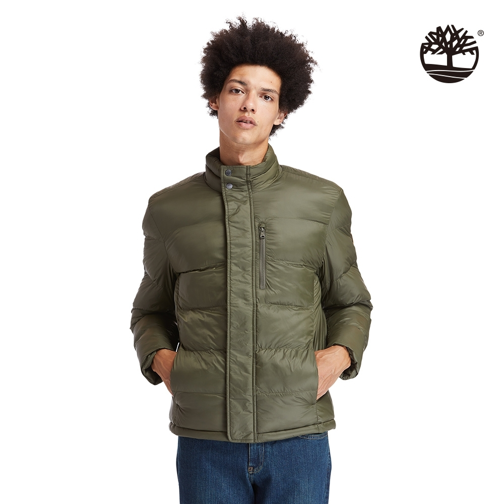 Timberland 男款軍綠色山系保暖棉立領防水外套|A2EPB