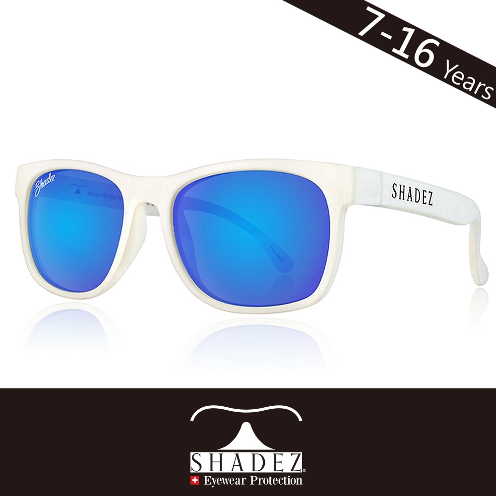 瑞士SHADEZ兒童頂級偏光太陽眼鏡SHZ-411年齡7-16)-白框湛藍