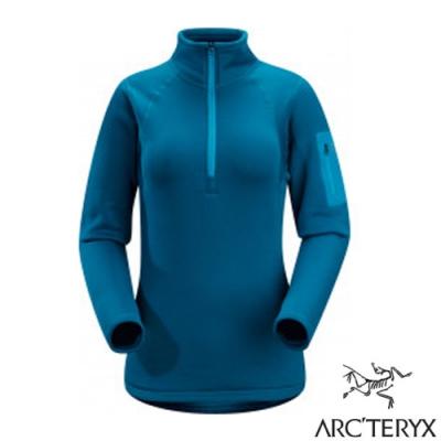 始祖鳥 Polartec女款 Rho AR Zip Neck 長袖彈性保暖排汗衣_女海神藍-