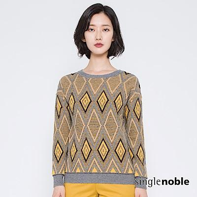 獨身貴族 復刻密語幾何圖騰圓領針織衫(2色)