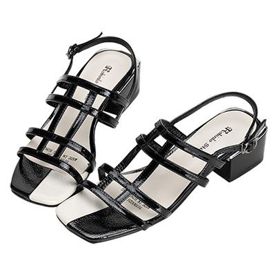 Robinlo 文藝幾何鏤空方頭低跟涼拖鞋 黑色