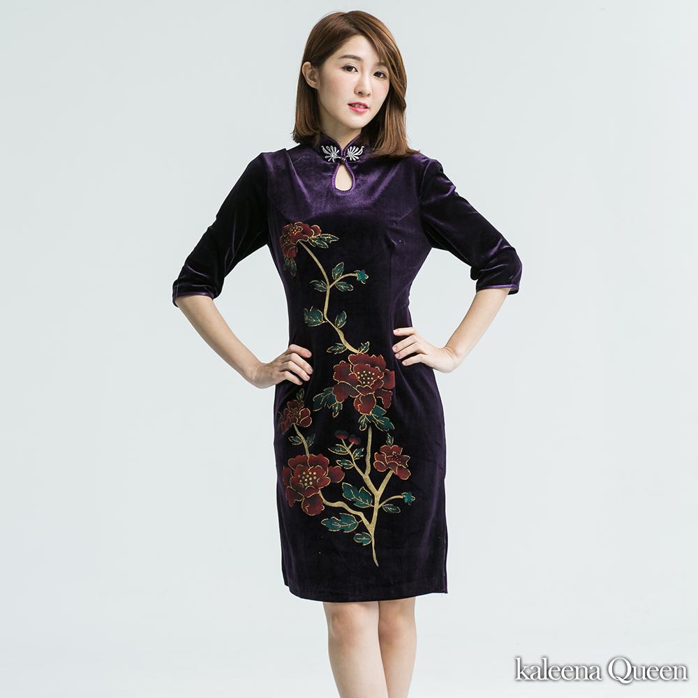 KaleenaQueen 古典魅力絲絨旗袍-紫