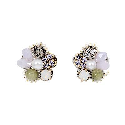 Prisme美國時尚飾品 綻放多寶石 銀色耳環 耳針式