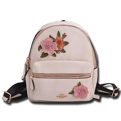 COACH立體馬車LOGO 刺繡花朵荔枝紋皮革拉鍊式後背包-象牙白
