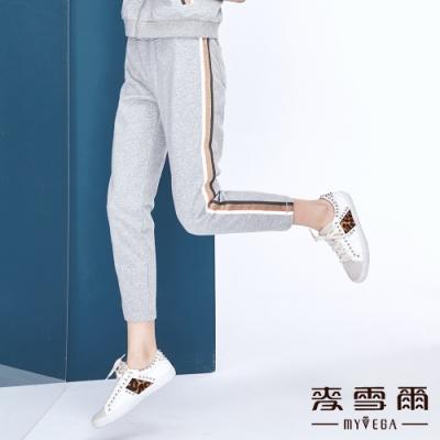 【麥雪爾】棉質金蔥滾邊修身棉褲