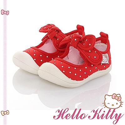 HelloKitty 點點系列 輕量減壓防滑室內外娃娃童鞋-紅