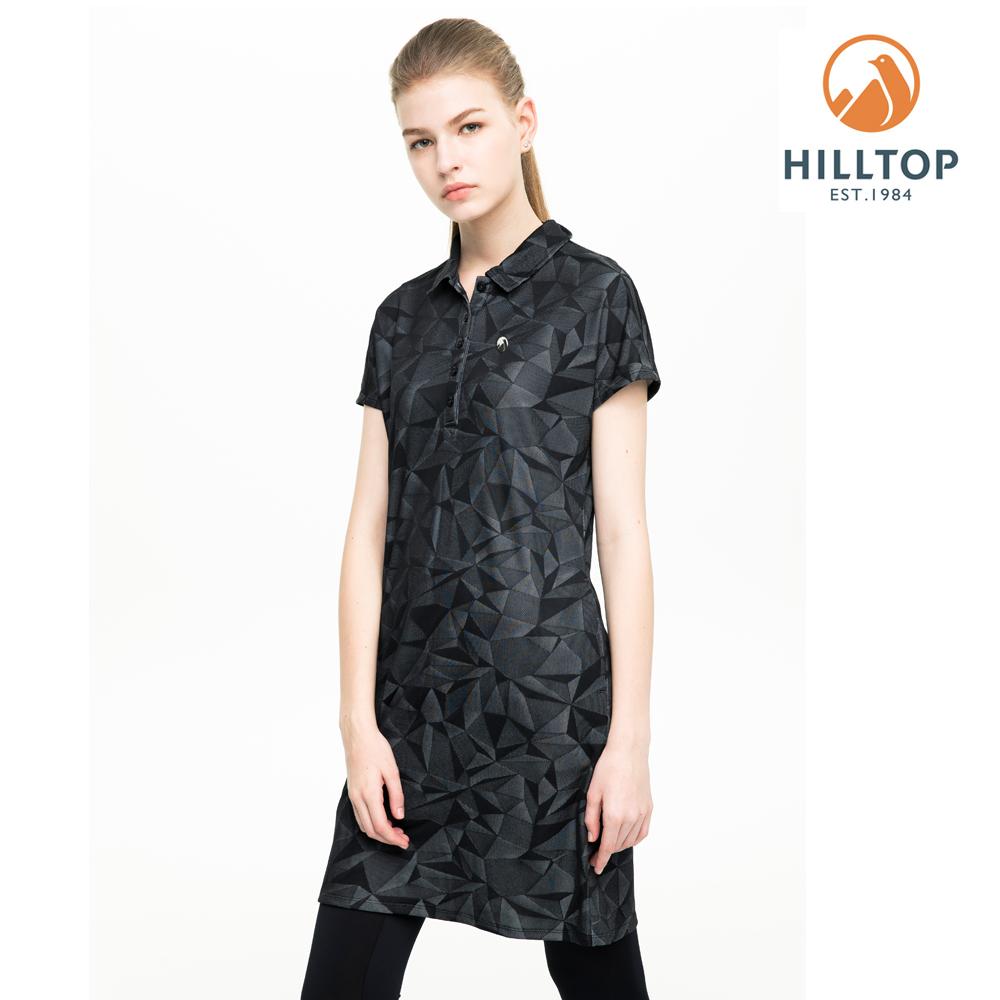 【hilltop山頂鳥】女款吸濕快乾抗UV抗菌長版POLO衫S14FF6黑美人