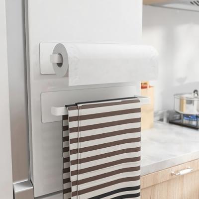 MAG冰箱磁吸式廚房紙巾架 無痕掛勾收納架 毛巾保鮮膜抹布置物架 洗衣機免打孔掛架