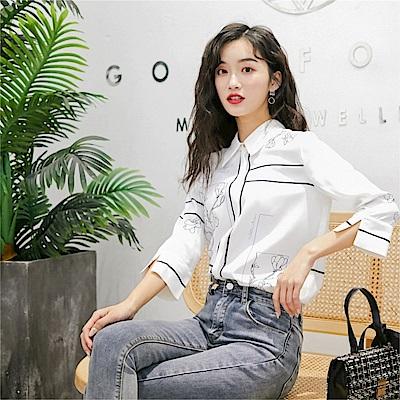 DABI 韓系氣質定位印花復古寬鬆休閒襯衫長袖上衣