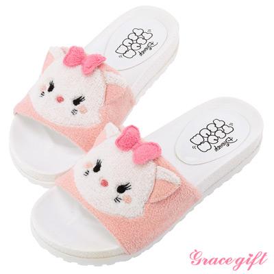 Disney collection by grace gift立體毛絨寬版涼拖鞋 粉