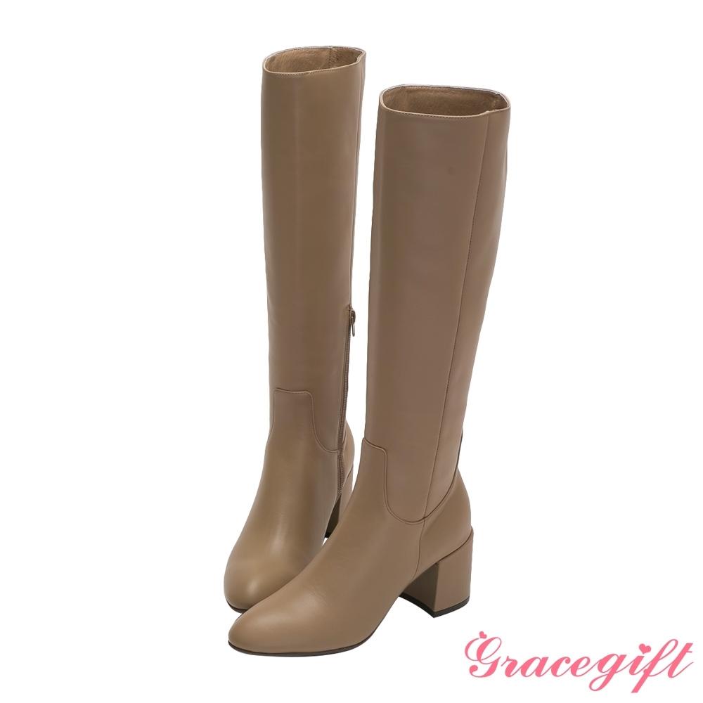 Grace gift X Jessica-聯名全真皮膝下高跟長靴 卡其