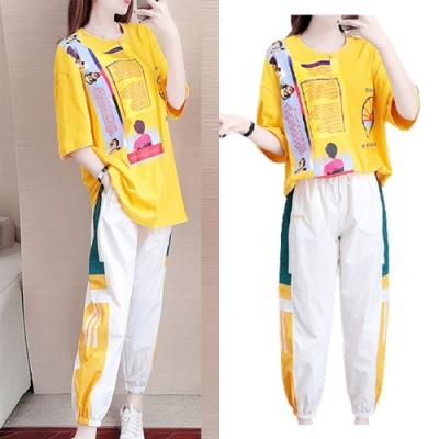 【韓國K.W.】(預購) 美式繽紛圖文套裝褲(共1色)