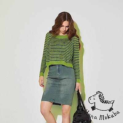 Hana+花木馬 時尚刷色牛仔側抓摺後開岔顯瘦膝上鉛筆造型直裙-藍(共2色)