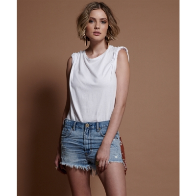ONETEASPOON LENGTH DENIM SHORT牛仔短褲-藍(女)