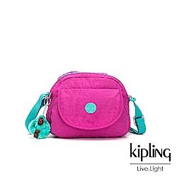 Kipling 糖果色調螢光粉x薄荷綠撞色翻蓋側背小包-STELMA