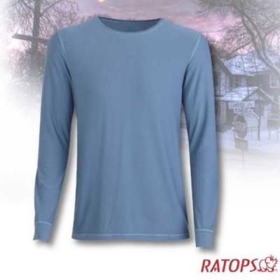 瑞多仕 男款 VILOFT 圓領彈性保暖衣_DB4642 藍灰綠色